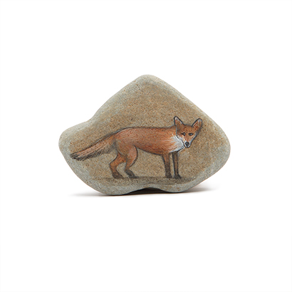 Fox Painted Stone