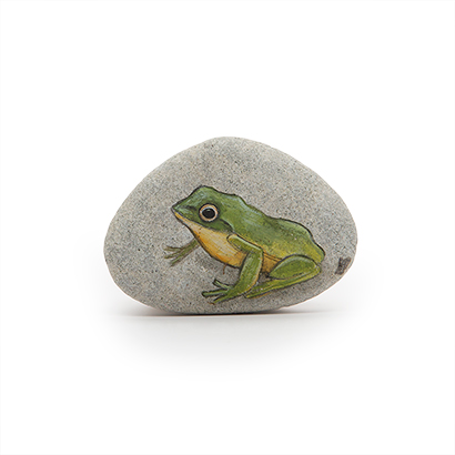 Green Frog Painted Stone